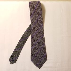 NWOT Missoni Grey with Purple Stripes Silk Tie